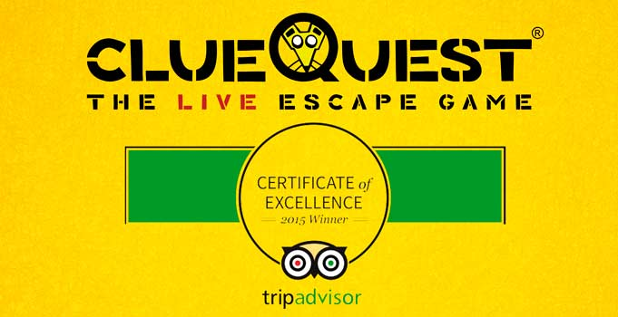 clueQuest certificate of excellence winner of 2015 tripadvisor