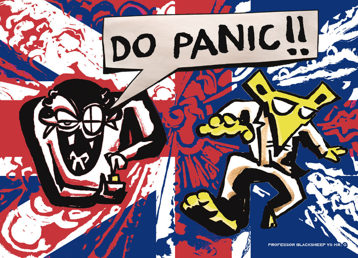 Mr Q versus Professor BlackSheep from clueQuest are on this leaflet from Don't Panic!